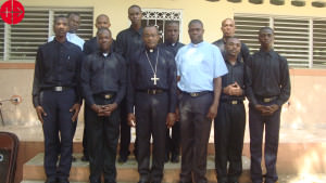 Seminarians with Bishop Launay Saturne and 2 formatorHAITI / JA