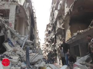 Destruction dans le quartier chrétien d'Alep, avril 2015 (ACN / Melikte Archdiocese of Aleppo)