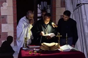 "Holy Mass on the Feast of the Cross with Archbishop Jean Abdou Arbach, 14th September 2016, in front of the Melkite Greek Catholic Cathedral of Our Lady of Peace in Homs destroyed by the bombing. ACN is helping in reconstruction of the Cathedral. SYRIA / HOMS-MLC 16/00057 Cathedral renovation ""Our Lady of Peace"" in Homs"